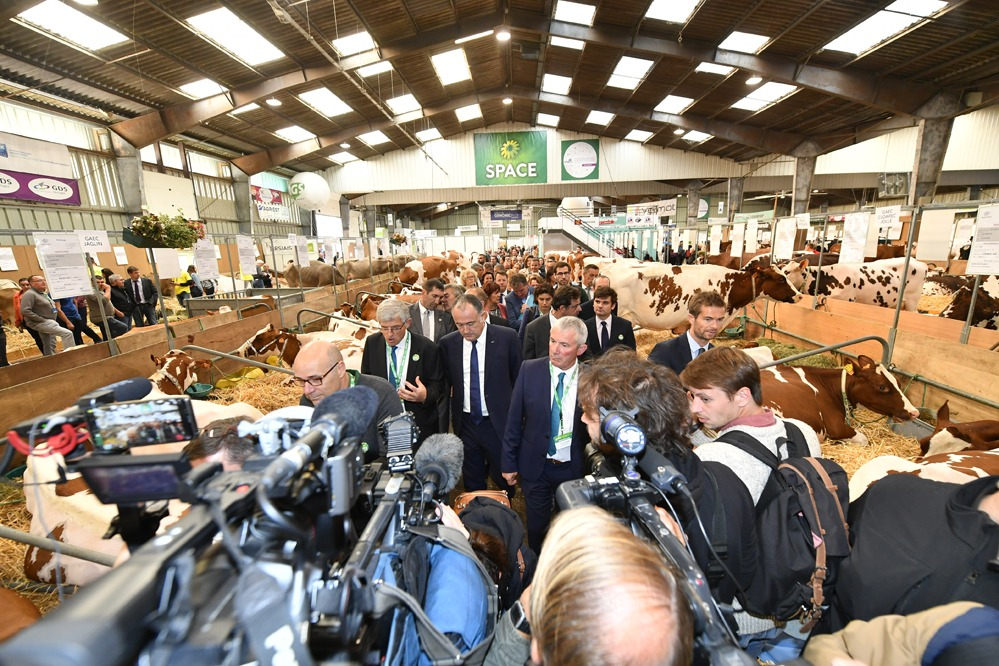 French minister for Agriculture, Didier Gillaume, at the livestock production event SPACE.